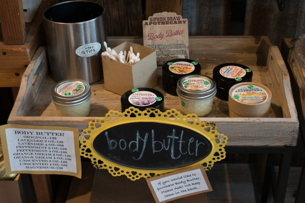 body butter on wooden tray table